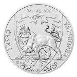 Stříbrná dvouuncová investiční mince Český lev 2020 stand 62,2 g - první strana