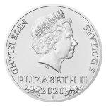 Stříbrná dvouuncová investiční mince Český lev 2020 stand 62,2 g - druhá strana