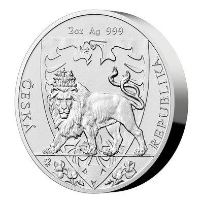 Stříbrná dvouuncová investiční mince Český lev 2020 stand 62,2 g - další strana