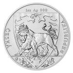 Stříbrná uncová investiční mince Český lev 2020 stand 31,1 g - druhá strana