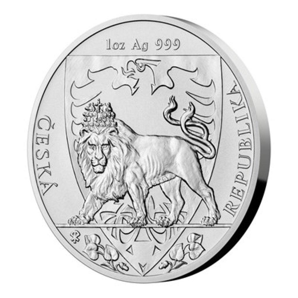 Stříbrná uncová investiční mince Český lev 2020 stand 31,1 g - první strana