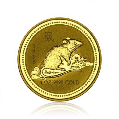 Zlatá investiční mince Australská Lunární Série I. 1996 Krysa / Myš 31,1 g - první strana