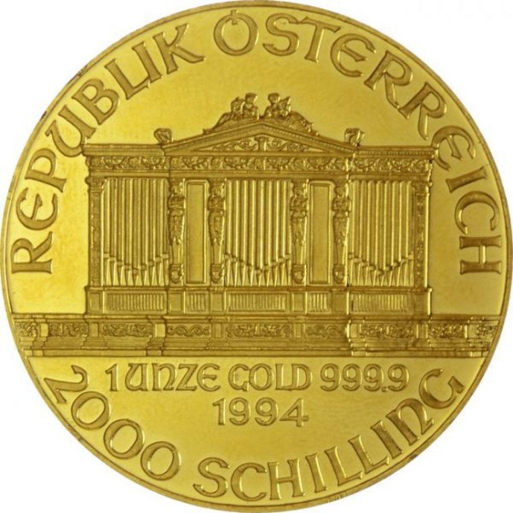 Zlatá investiční mince Wiener Philharmoniker ATS Prägung 31,1 g - druhá strana
