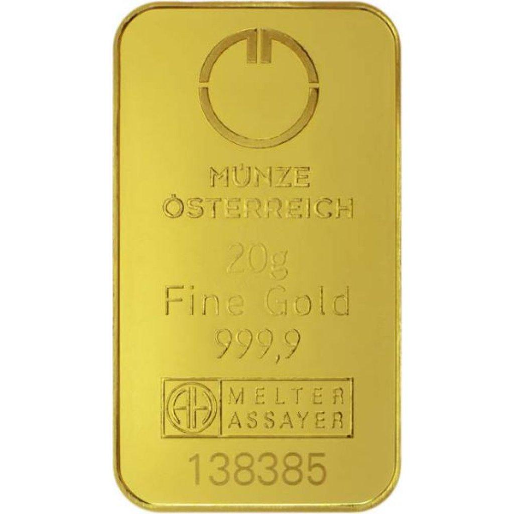 Zlatý investiční slitek Münze Österreich 20 g