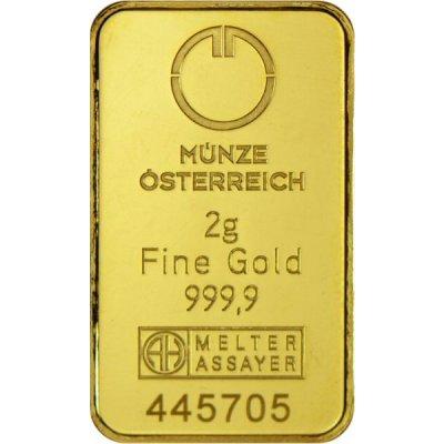 Zlatý investiční slitek Münze Österreich 2 g