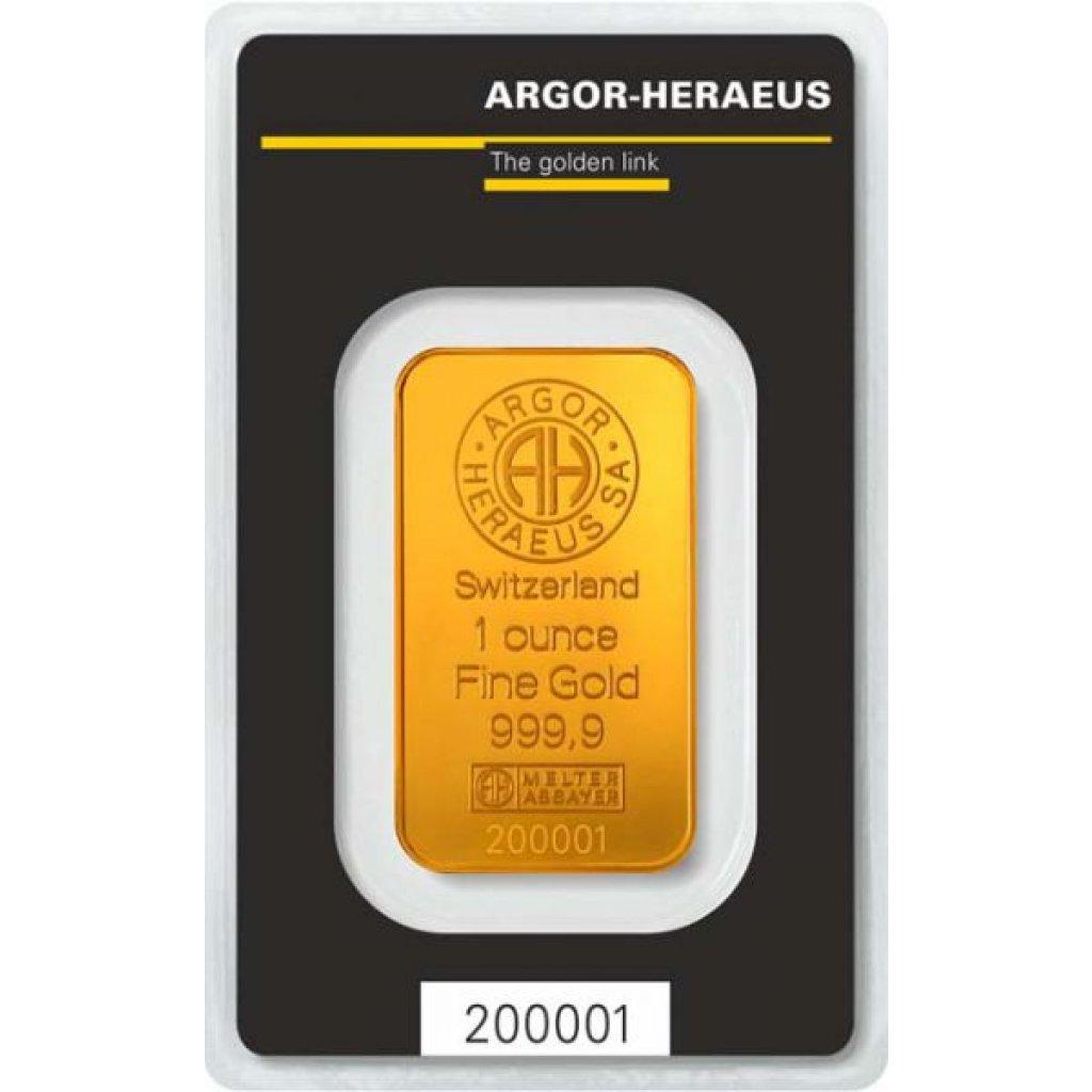 Zlatý investiční slitek Argor-Heraeus 31,1 g (1 Oz) - první strana