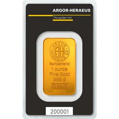 Zlatý investiční slitek Argor Heraeus 31,1 g (1 Oz) - první strana