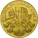 Zlatá investiční mince Wiener Philharmoniker ATS 7,78 g - první strana