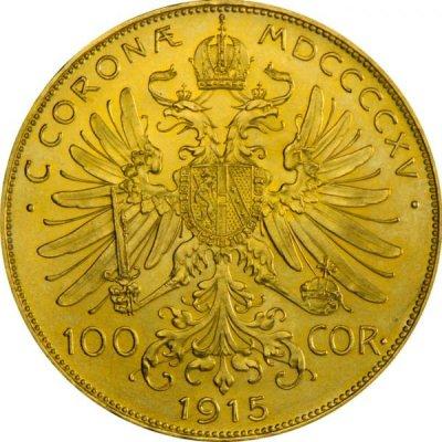 Zlatá investiční mince 100 Korun Rakousko 1915 novoražba 30,48 g - první strana