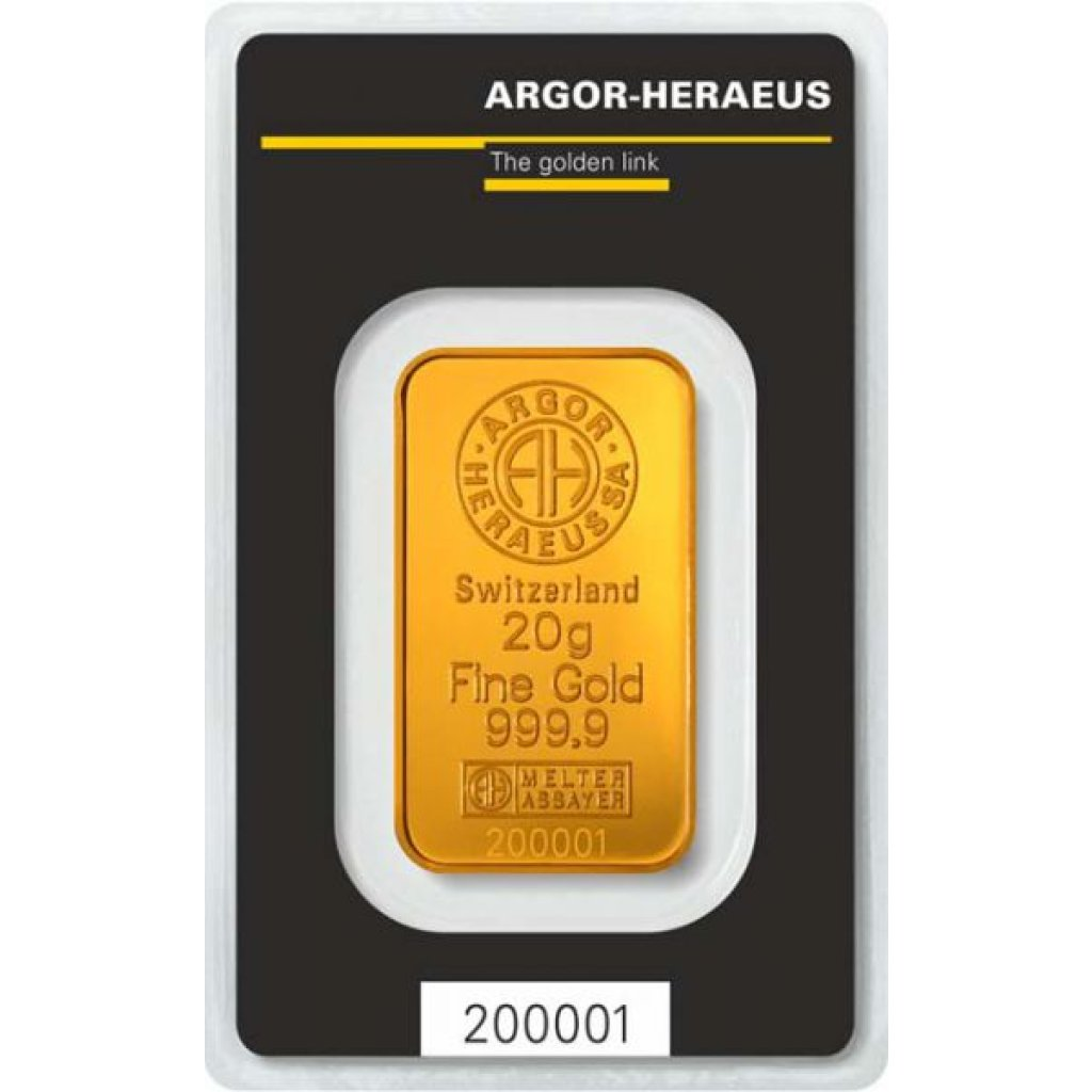 Zlatý investiční slitek Argor-Heraeus 20 g - první strana