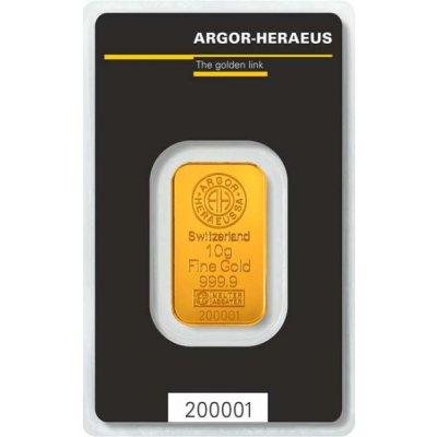 Zlatý investiční slitek Argor-Heraeus 10 g - první strana