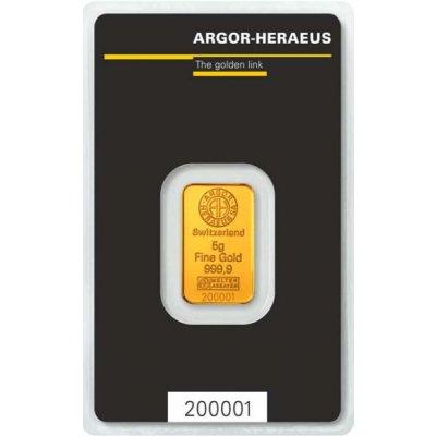 Zlatý investiční slitek Argor-Heraeus 5 g - první strana