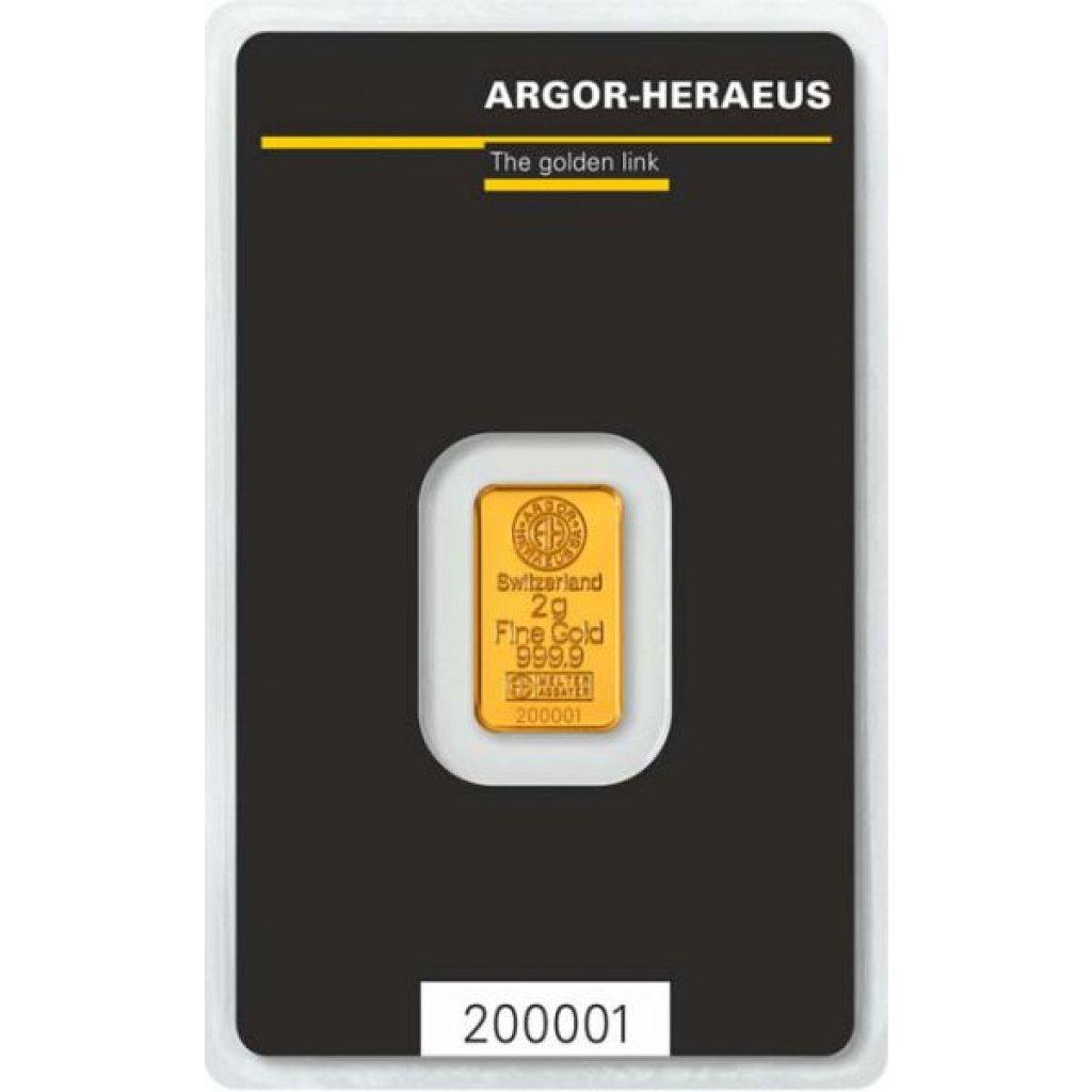 Zlatý investiční slitek Argor-Heraeus 2 g -první strana