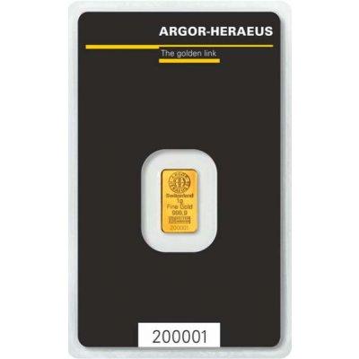 Zlatý investiční slitek Argor-Heraeus 1 g - první strana
