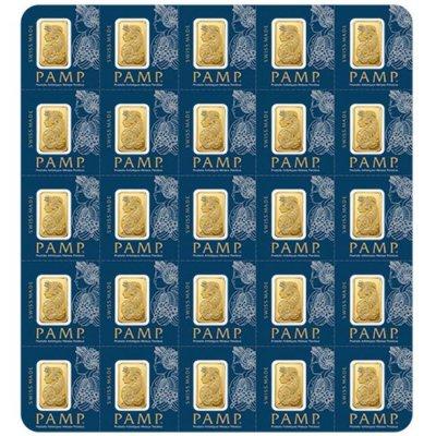 Zlatý investiční slitek PAMP Fortuna 25 x 1 g Multigram - první strana