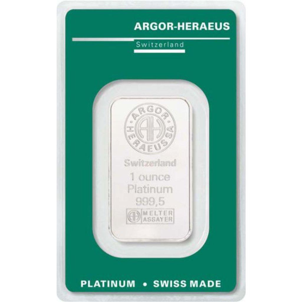 Platinový investiční slitek Argor-Heraeus 31,1 g - první strana