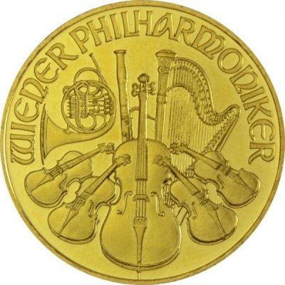 Zlatá investiční mince Wiener Philharmoniker ATS Prägung 15,55 g - první strana
