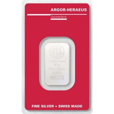Stříbrný investiční slitek Argor-Heraeus 10 g - první strana