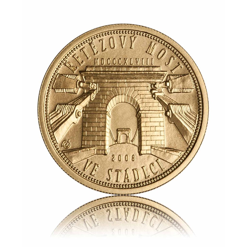 Zlatá mince Řetězový most ve Stádlci 2500 Kč - první strana