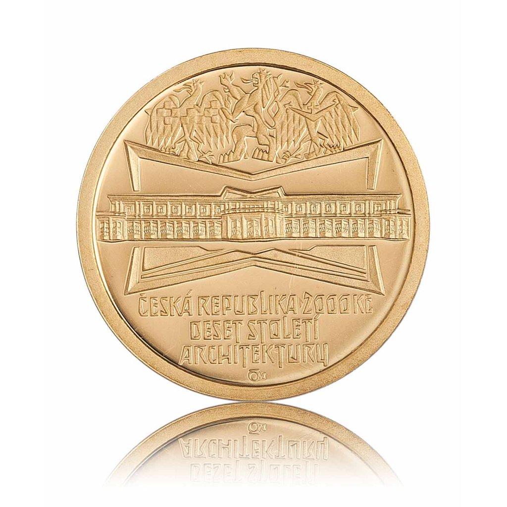 Zlatá mince 2000 Kč lázeňský dům v Lázních Bohdanči 6,22 g - první strana