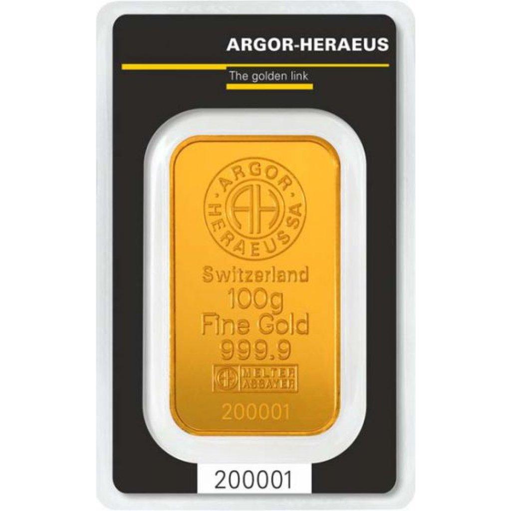 Zlatý investiční slitek Argor-Heraeus 100 g - první strana