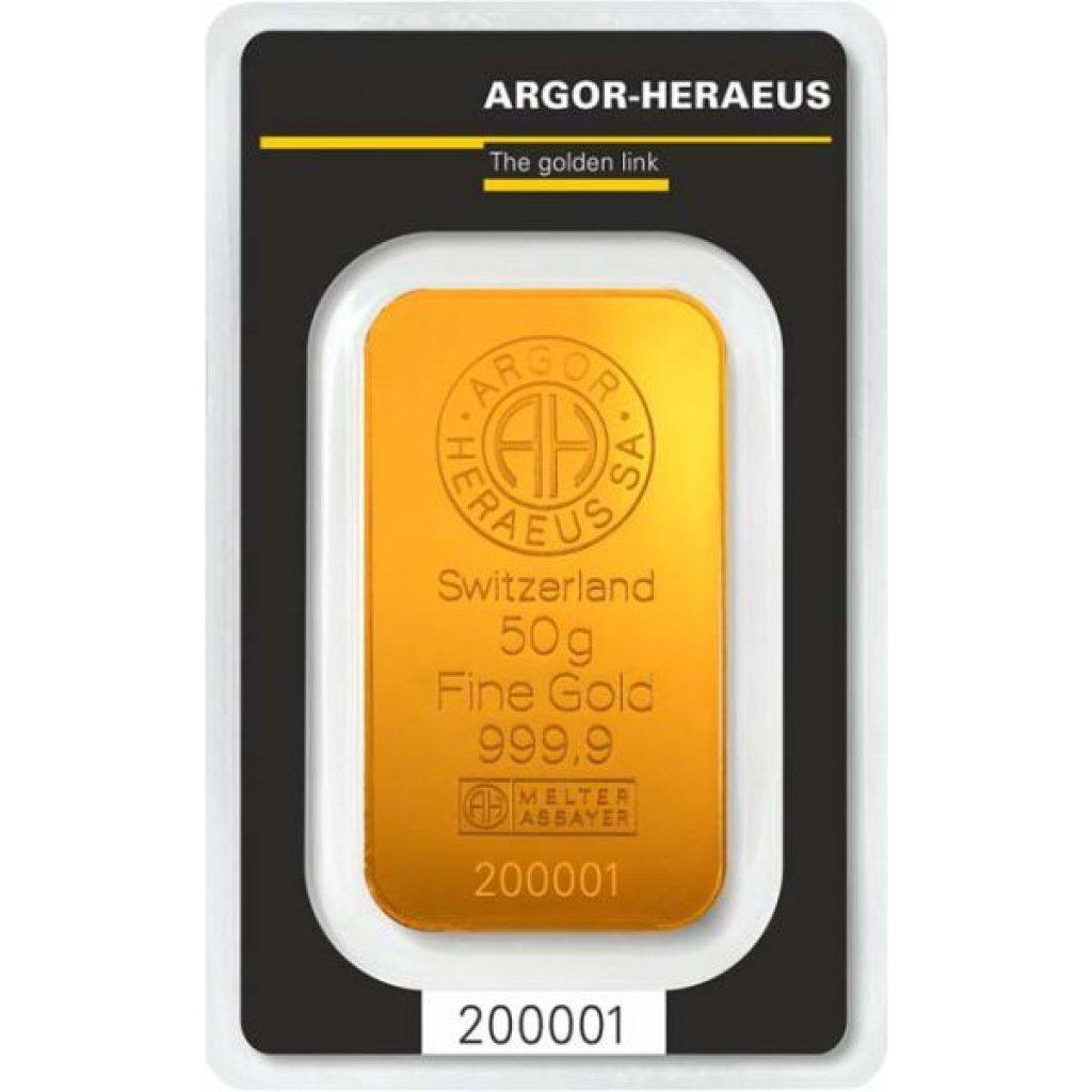 Zlatý investiční slitek Argor-Heraeus 50 g - první strana