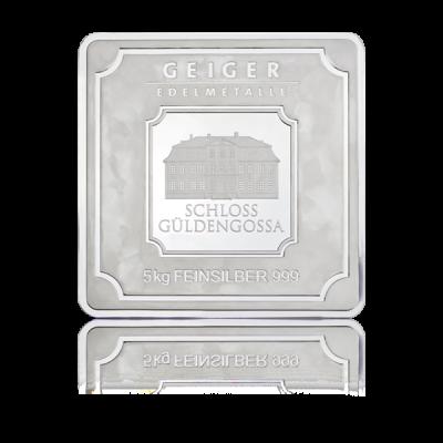 Stříbrný slitek Geiger original 5000 g .999 - první strana