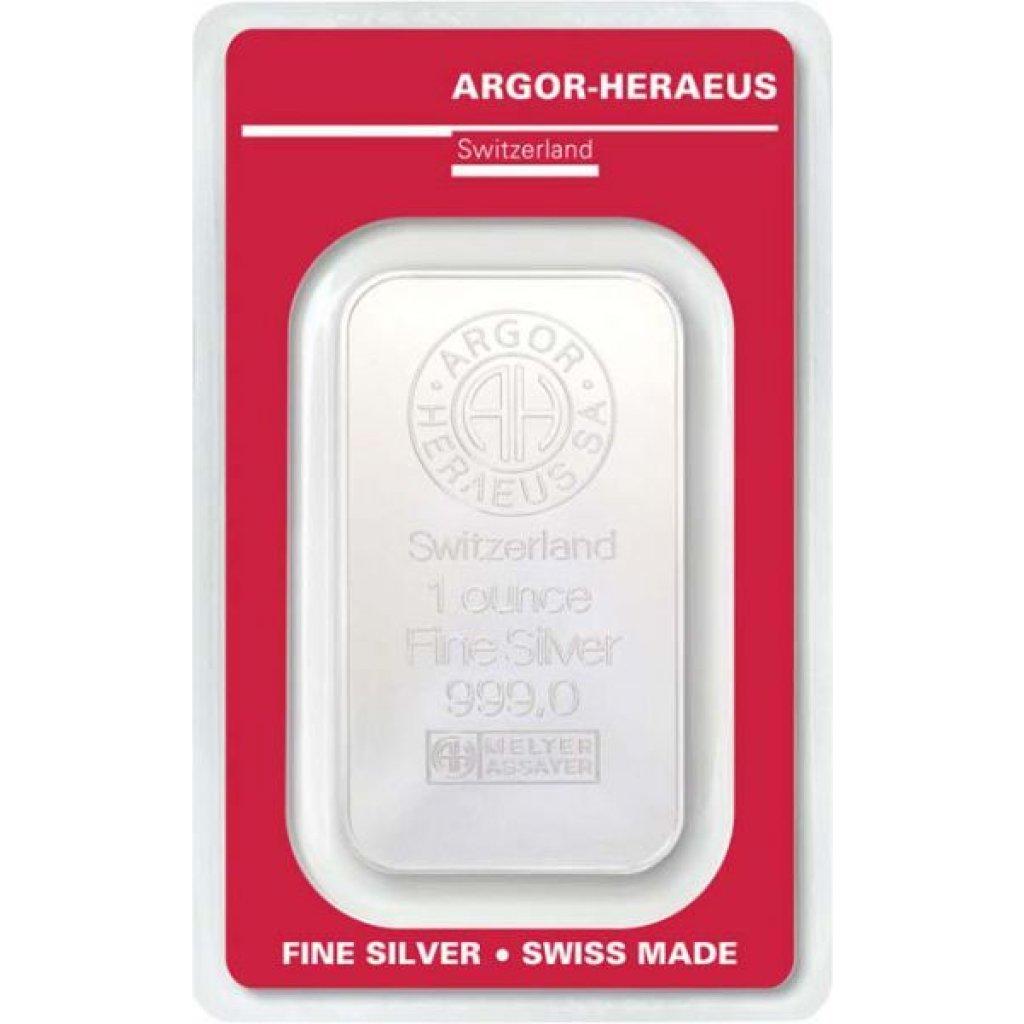 Stříbrný investiční slitek Argor-Heraeus 31,1 g (1 Oz) - první strana