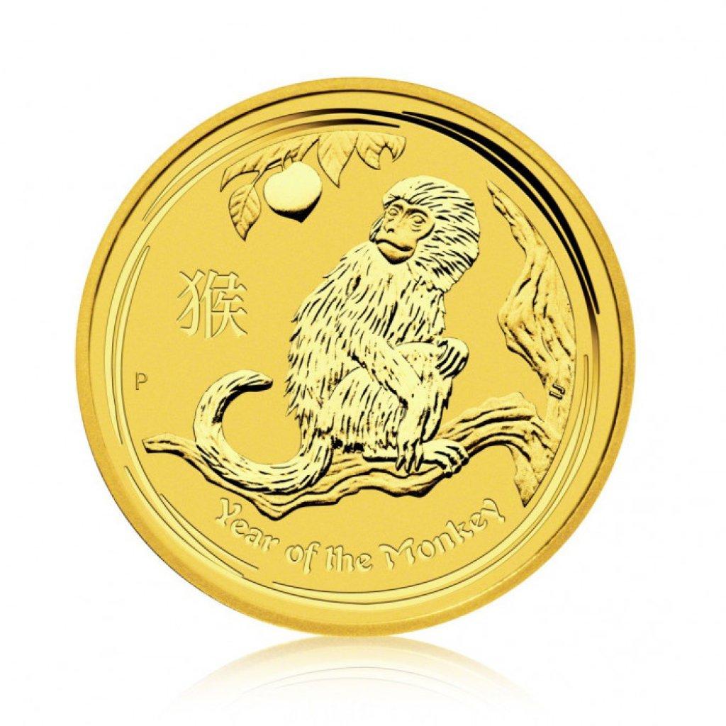 Zlatá investiční mince Australský lunární rok 2016 Opice 31,1 g (1 Oz) - první strana