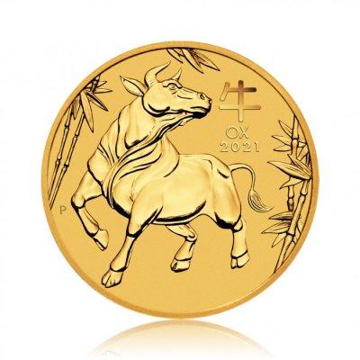 Zlatá investiční mince Australský Lunární rok 2021 Buvol 15,55 g - první strana