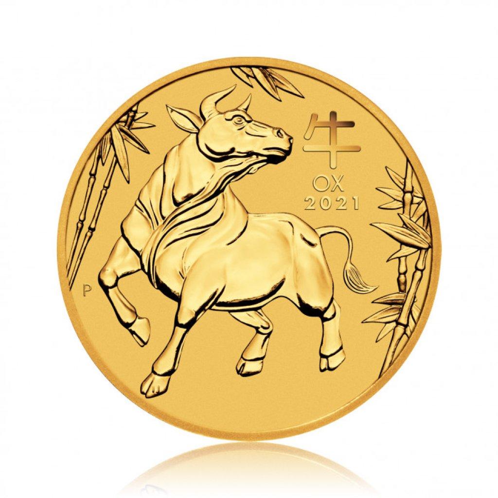 Zlatá investiční mince Australský Lunární rok 2021 Buvol 3,11 g - první strana