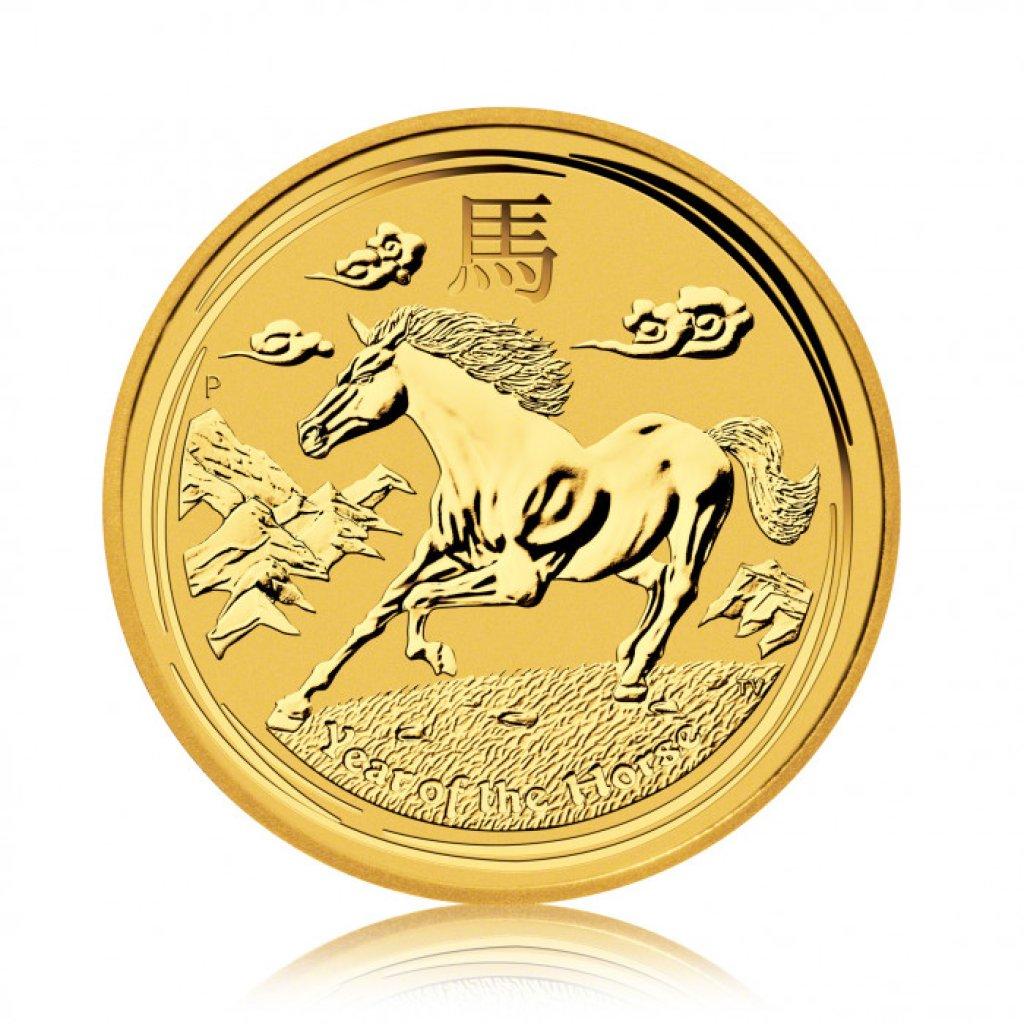 Zlatá investiční mince Australský lunární rok 2014 Kůň 31,1 g - první strana