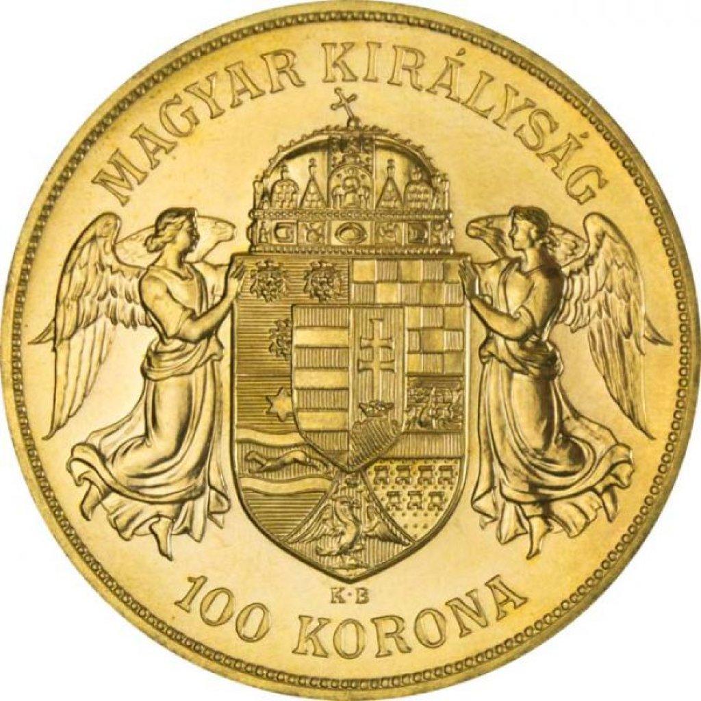 Zlatá investiční mince 100 Korun Maďarsko 1908 novoražba 30,48 g - první strana