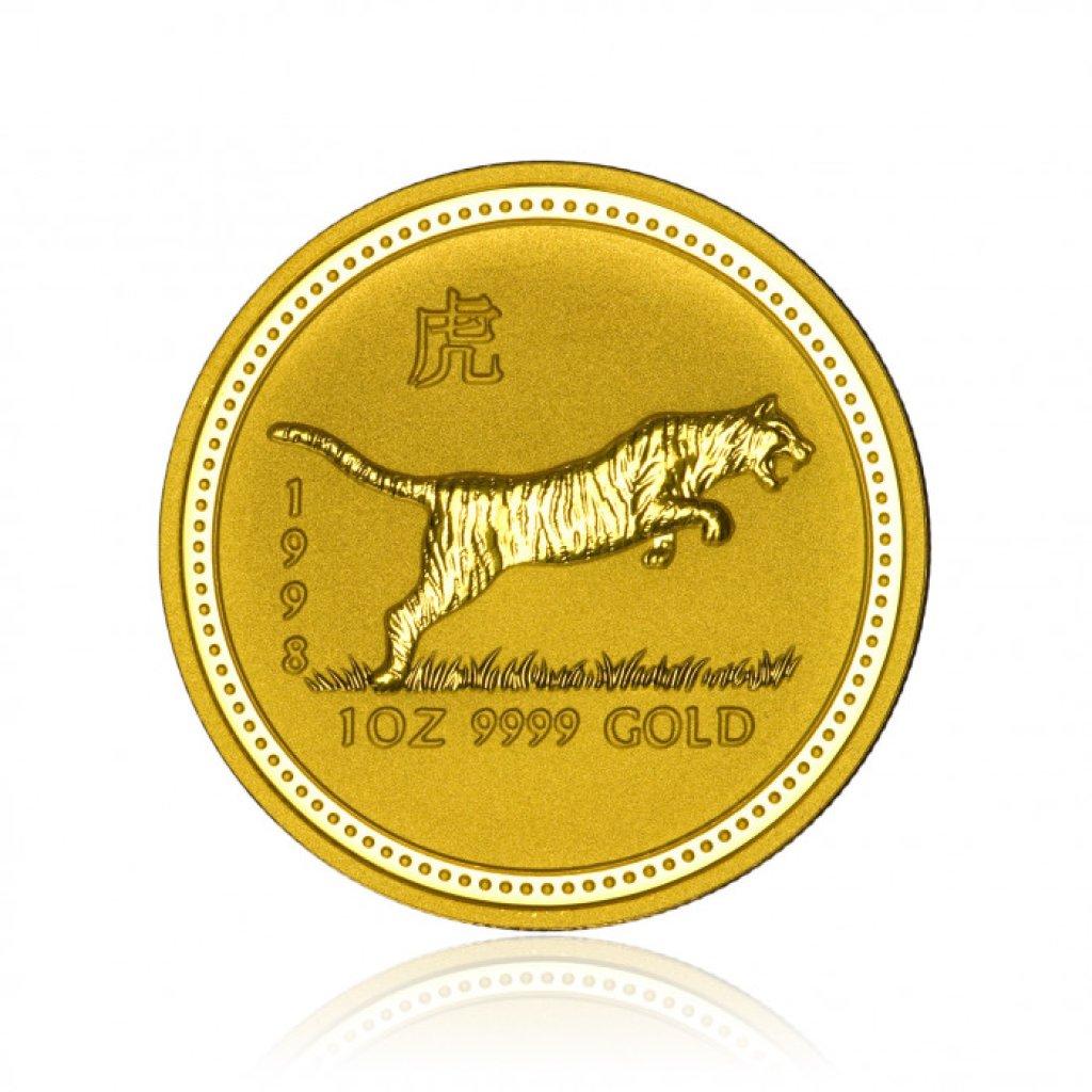 Zlatá investiční mince Australská Lunární Série I. 1998 Tygr 31,1 g - první obrázek