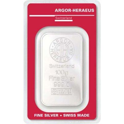Stříbrný investiční slitek Argor-Heraeus 100 g - první strana