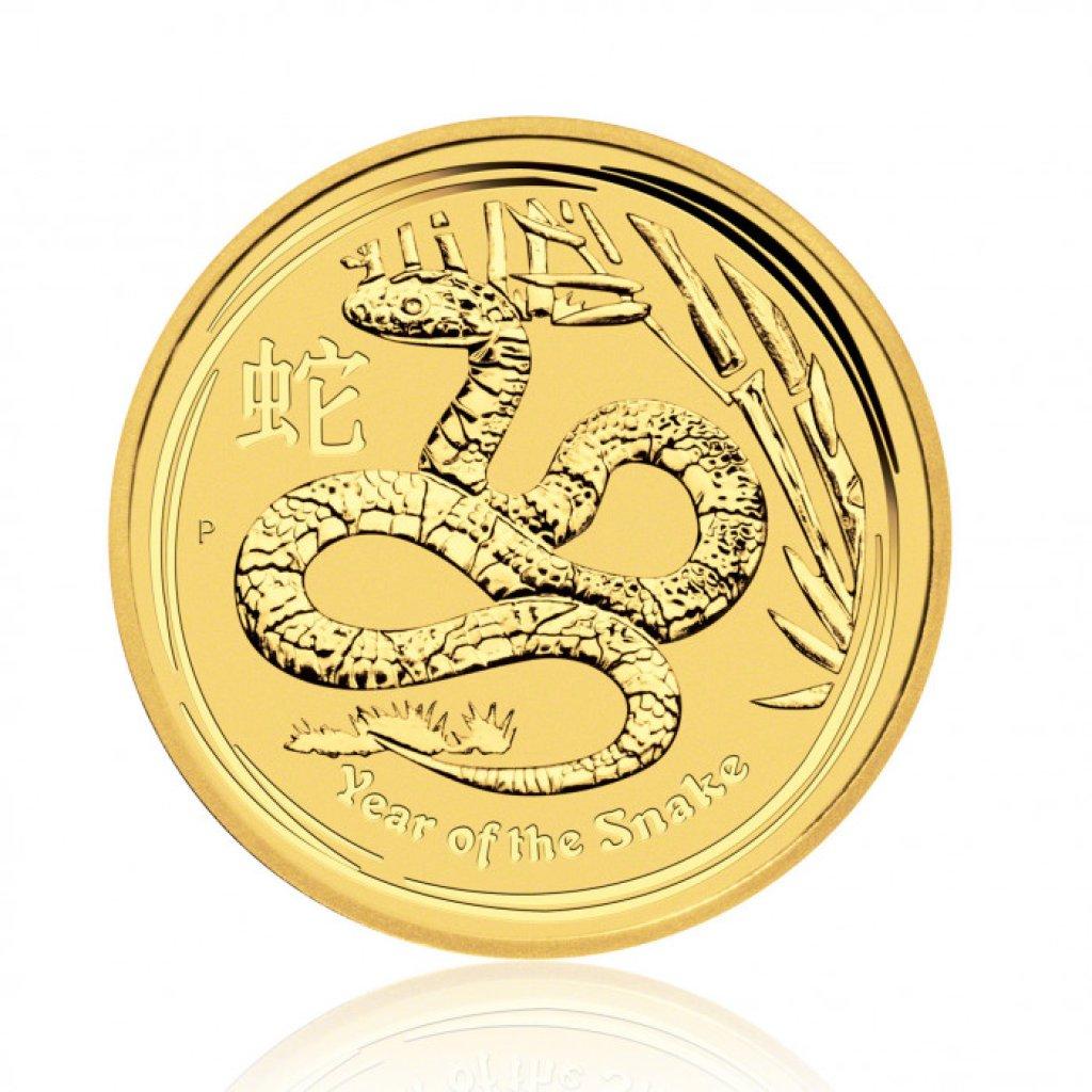 Zlatá investiční mince Australský lunární rok 2013 Had 7,78 g (1/4 Oz) - první strana