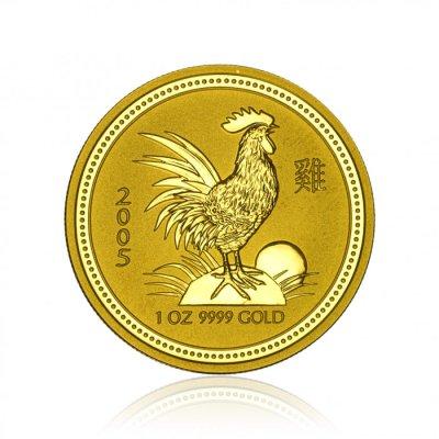 Zlatá investiční mince Australská Lunární Série I. 2005 Kohout 31,1 g (1 Oz) - první strana