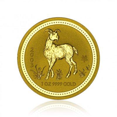 Zlatá investiční mince Australská Lunární Série I. 2003 Koza 31,1 g (1 Oz) - první strana