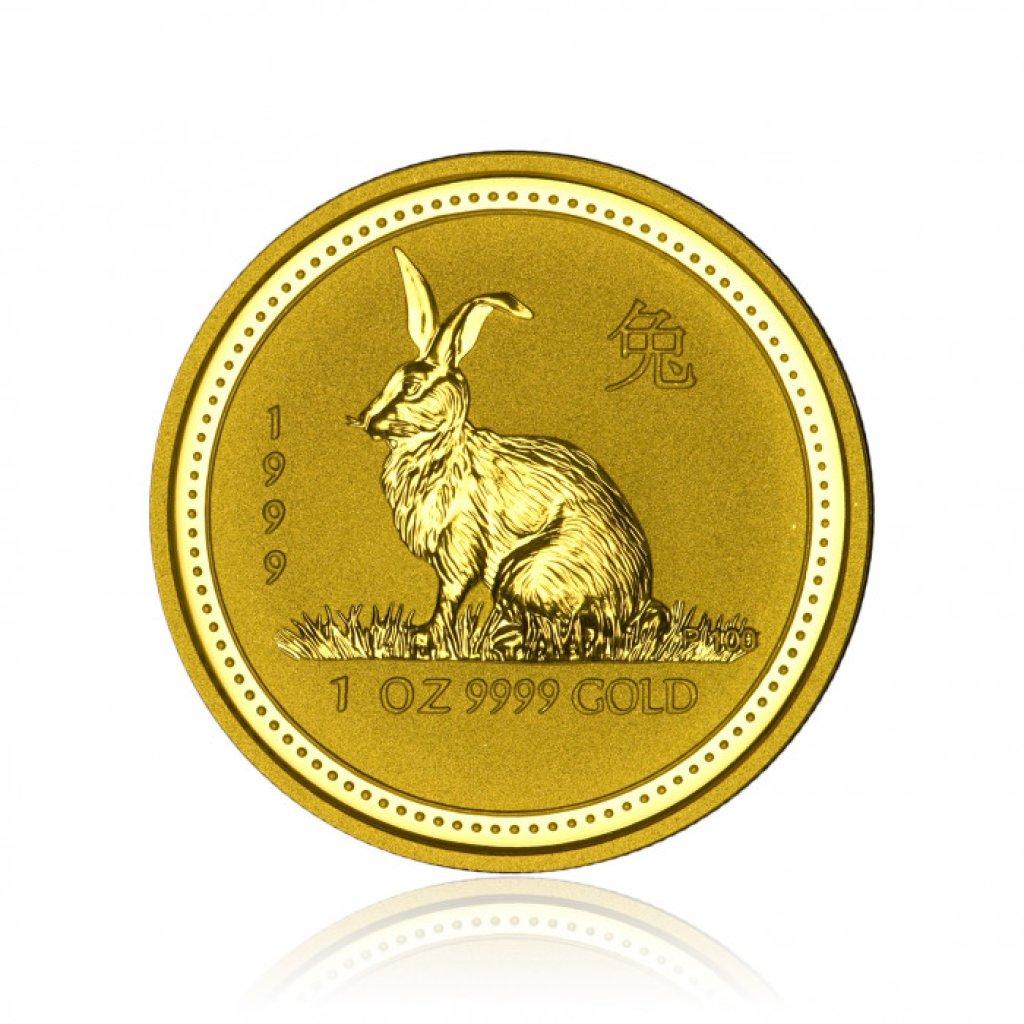 Zlatá investiční mince Australská Lunární Série I. 1999 Králík 31,1 g (1 Oz) - první strana