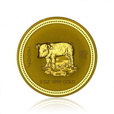 Zlatá investiční mince Australská Lunární Série I. 2007 Vepř 62,2 g (2 Oz) - první strana