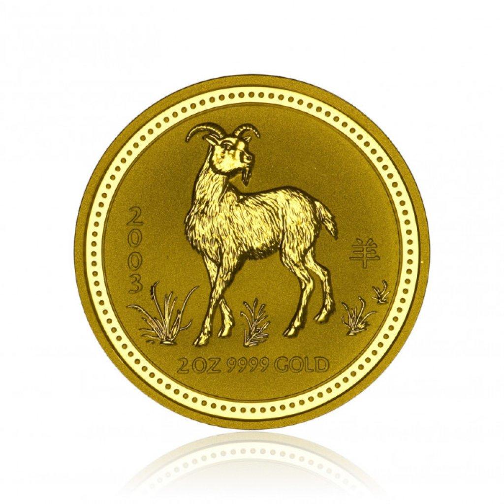Zlatá investiční mince Australská Lunární Série I. 2003 Koza 62,2 g (2 Oz) - první obrázek