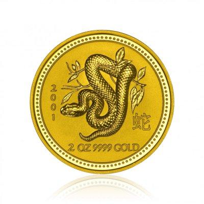 Zlatá investiční mince Australská Lunární Série I. 2001 Had 62,2 g (2 Oz) - první strana