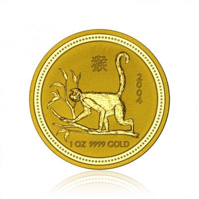 Zlatá investiční mince Australská Lunární Série I. 2004 Opice 31,1 g (1 Oz) - první strana
