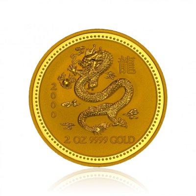 Zlatá investiční mince Australská Lunární Série I. 2000 Drak 62,2 g (2 Oz)