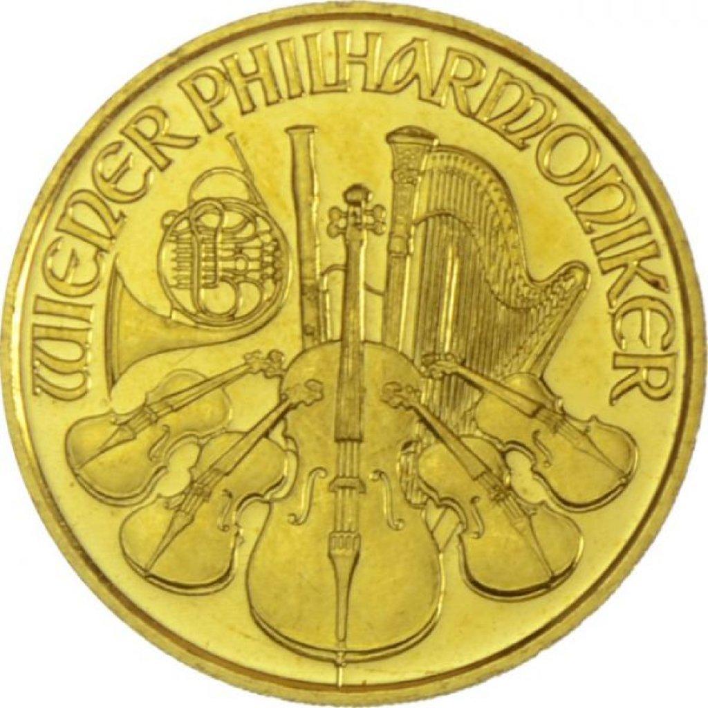 Zlatá investiční mince Wiener Philharmoniker ATS 3,11 g (1/10 Oz) - první strana