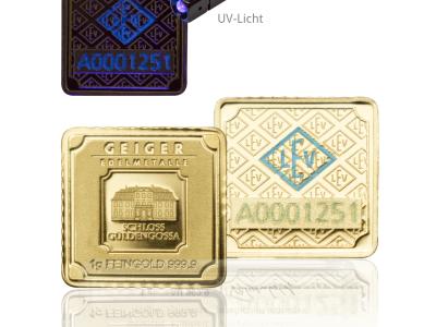 Zlaté investiční slitky GEIGER originál 1 g .9999 - univerzální dárky pro každou příležitost