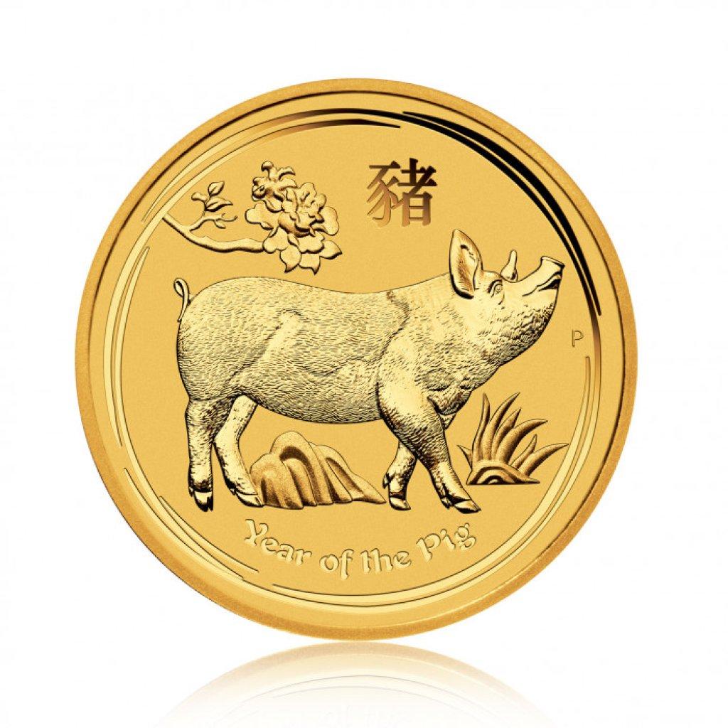 Zlatá investiční mince Australský lunární rok 2018 Vepř 1 Oz – první strana