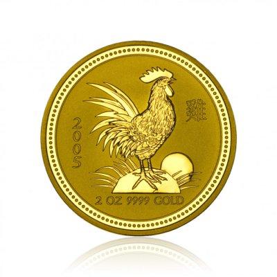 Zlatá investiční mince Australská Lunární Série I. 2005 Kohout 62,21 g (2 Oz)