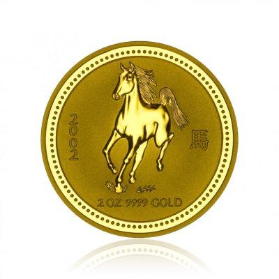 Zlatá investiční mince Australská Lunární Série I. 2002 Kůň 62,2 g (2 Oz) - první strana