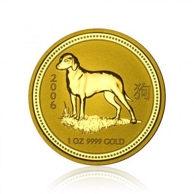 Zlatá investiční mince Australská Lunární Série I. 2006 Pes 31,1 g (1 Oz) - první strana